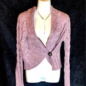 Free People Raspberry Cropped Cardigan, Small